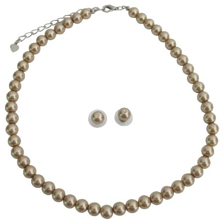 NS1260 Junior Bridesmaid Bronze Pearl Necklace Stud Earrings Bridesmaid Set