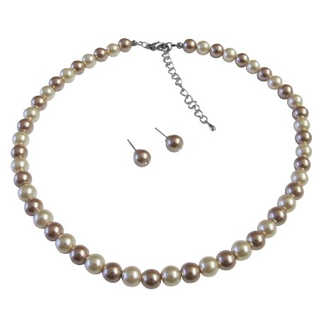 NS895 Wedding Shower Gifts Ivory & Champagne Pearls Combo Necklace Set