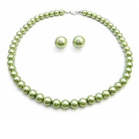 NS835 Inexpensive Peridot Jewelry Green Pearls Wedding Jewelry Set
