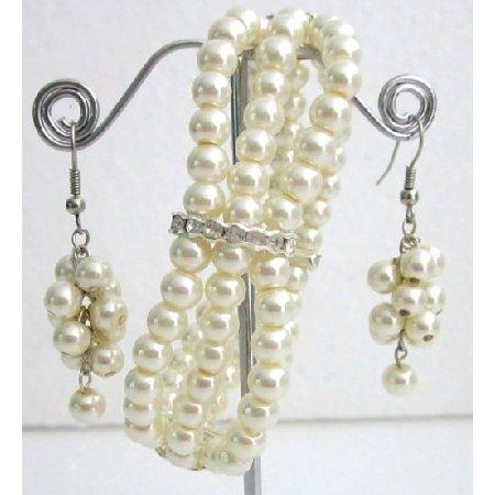 TB1147  Ivory Pearls Rhinestone Stretchable Bracelet 3 Strand Dangling Earrings Jewelry Gift