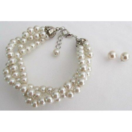 TB1130  Wedding Ivory Color 3 Strand Bracelet Stud Earrings Bridal Gift