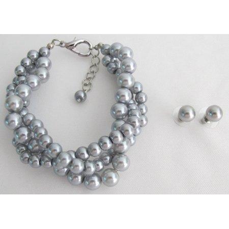 TB1149  Wedding Set Bridesmaid Jewelry 3 Strand Gray Pearl Bracelet Stud Earrings