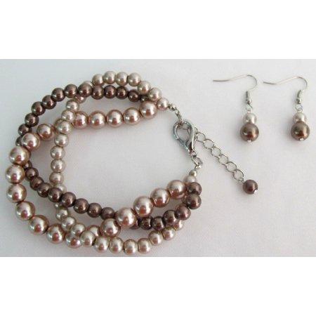 TB1133  Unbeaten Price Wedding Jewelry Twisted Pearl Mocha Three Strand Bracelet Earrings Set