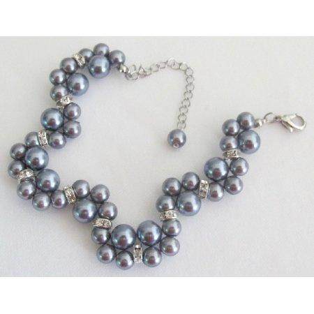 TB1171  Wedding Bracelet Bridesmaid Prom Handmade Interwoven Twisted Gray Bracelet