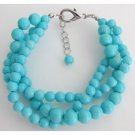 TB1136  Turquoise 3 Strand Bracelet Gift Your Girl Friend Holiday Wear