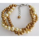 TB1140  Pearl Bracelet Classic And Comtemporary Gold & Yellow 3 Strand Bracelet