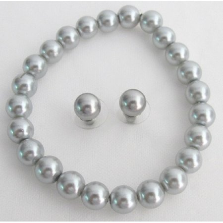 TB1134  Classy Gray Pearls Stretchable Bracelet Stud Earrings School Jewelry