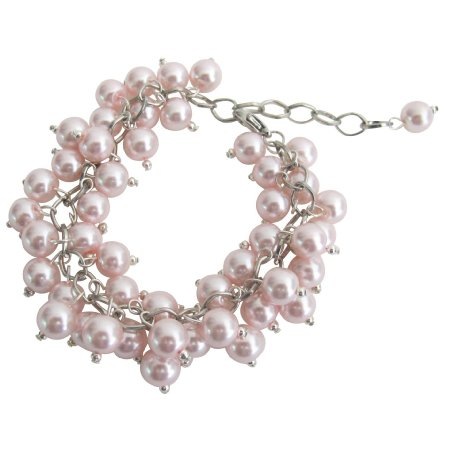 TB1113  Chunky Cluster Beaded Bracelet In Soft Pink Jewelry Gift