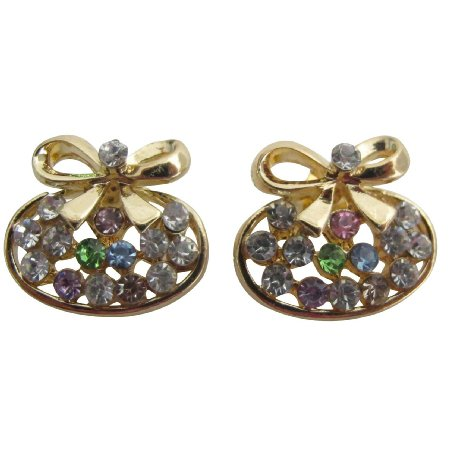 UER695  Christmas Gold Bow Earrings Tiny Multicolor Cubic Zircon Stud Earrings