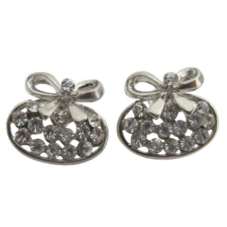UER694  Silver Bow Earrings Tiny Small Cubic Zirconia Studs Holiday Gift Earrings