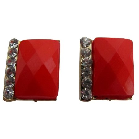 UER696 Pair of Fresh Women Solid Red With Rhinestone Embellished Earrings