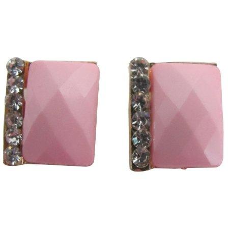 UER697  Blush Pink Rectangular Stud Earrings With Rhinestones Great Gift