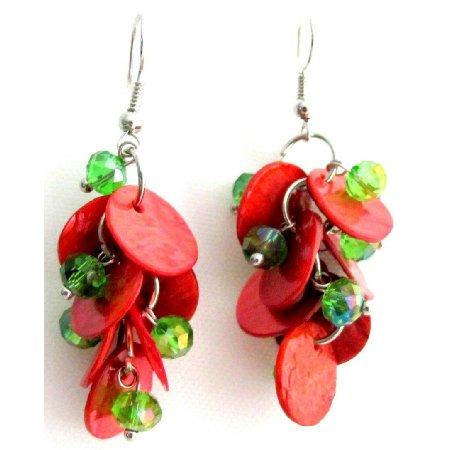 UER738  Fabulous Cute Earrings Christmas Gift Red Shell Green Beads