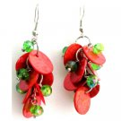 UER738  Fabulous Cute Earrings Christmas Gift Red Shell Green Beads