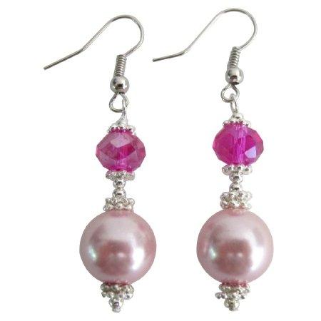 UER708 Magnificent Earrings Pink Pearl Fuchsia Crystal Earrings Bali Silver Daily Wear Earrings