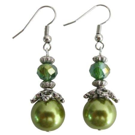 UER710 Green Pearl Peridot Crystal Bridesmaid Earrings Wedding Jewelry