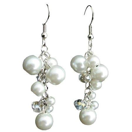 UER713 Cluster Earrings White Pearl Clear Crystal Glass Beads Dangling Cute Earrings