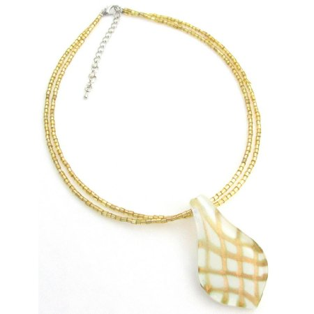 N1104  Leaf Pendant Necklace White Murano Pendant Seed Beads Necklace