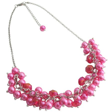 N1081 Hot Pink Cluster Necklace Set Gorgeous Wedding Gift Chunky Cluster