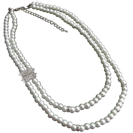 N1090  White Pearls Necklace Rhinestones Spacer On Side Bridal Necklace
