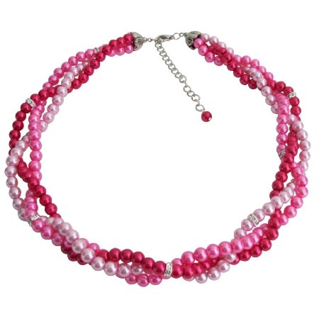 N1085 Blush Pink Hot Pink Magenta Combo Wedding Prom Graduation Necklace