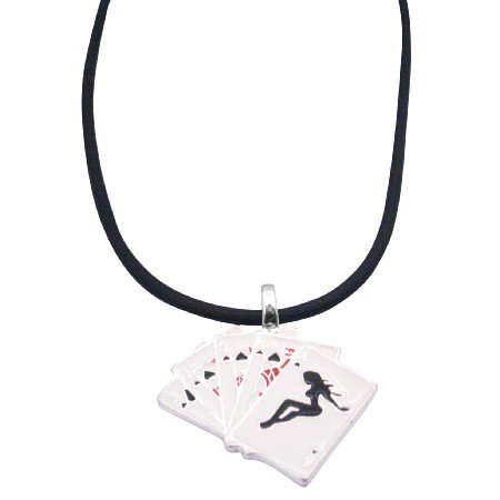 UNE162 Cards Pendant w/ Playing Cards Pendant in Black Chord