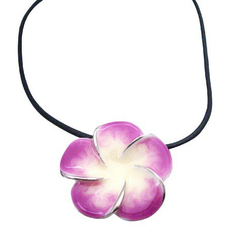 UNE166  Orchid Pendant Black Velvet Chord Necklace Gift Christmas Jewelry