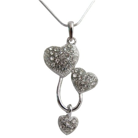 UNE375  Three Heart Pendant Necklace Dazzling Sparkling Priceless Gift