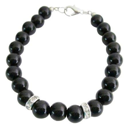 UBR255 Stunning 8mm Black Pearls Jewelry Flower Girl Bracelet & Rondelles