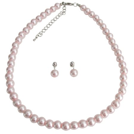 NS1380 Pink Pearl Wedding Necklace With Surgical Post Earrings