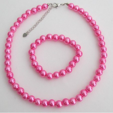 NS1425  Hot Pink Flower Girl Jewelry Set Pearl Necklace And Stretchable Bracelet