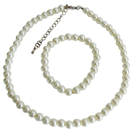 NS1394  Flower Pearl Set Ivory Pearl Necklace Stretchable Bracelet Wedding Jewelry