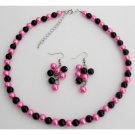 NS1430 Hot Pink Black Pearl Jewelry Set Wedding Color Necklace Earrings