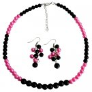 NS1410 Black Fuchsia Cluster Earrings Necklace Fashionable Bright Wedding Jewelry