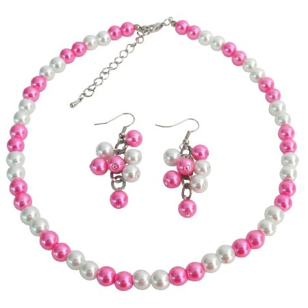 NS1401  Wedding Jewelry In White Hot Pink Cluster Jewelry Cluster Earrings Set