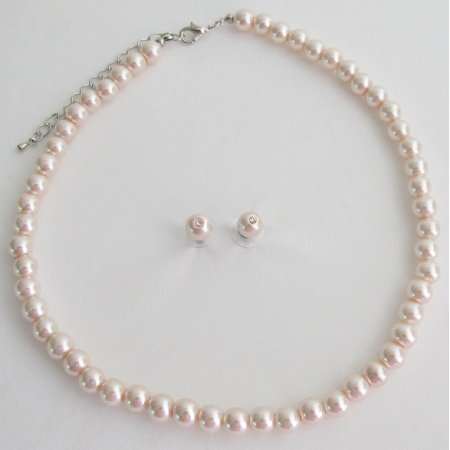 NS1433 Pale Pink Lite Pink Blush Pink Pearl Necklace Stud Earrings Set