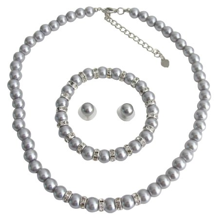 NS1392 Silver Pearl Wedding Jewelry Necklace Stud Earrings Stretchable Bracelet