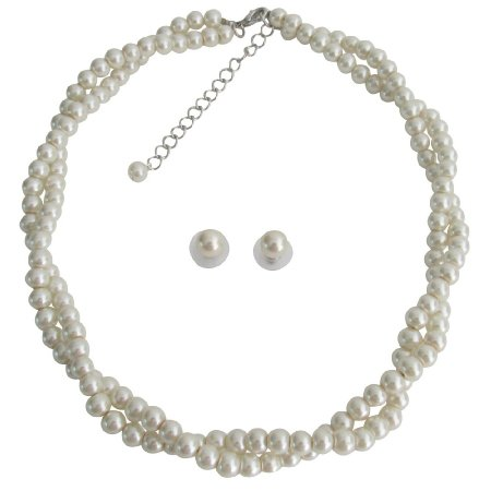 NS1369 Ivory Pearl Necklace Graduation Prom Twisted Pearl Necklace Stud Earrings