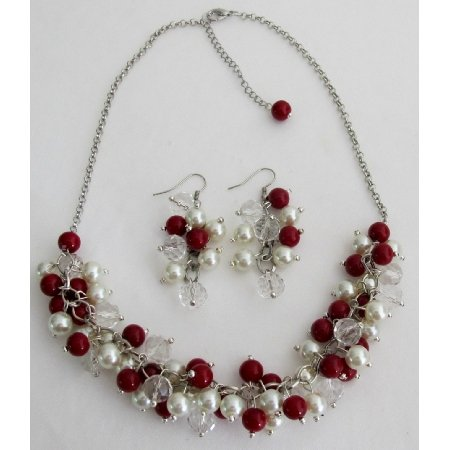 NS1419 Christmas Necklace Red Ivory Pearls Clusters Necklace Earrings Set