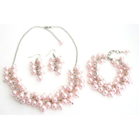 NS1304 Bridal Set Chunky Pearl Soft Pink Pearls Necklace Earrings Bracelet Wedding Gift