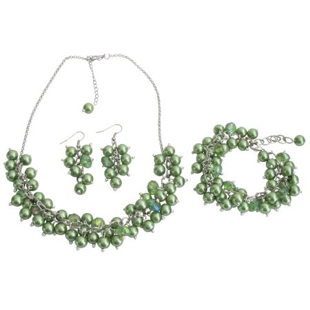 NS1301 Wedding Pearl Necklace Beaded Chunky Jewelry Kelly Green Pearls Glamorous Gift