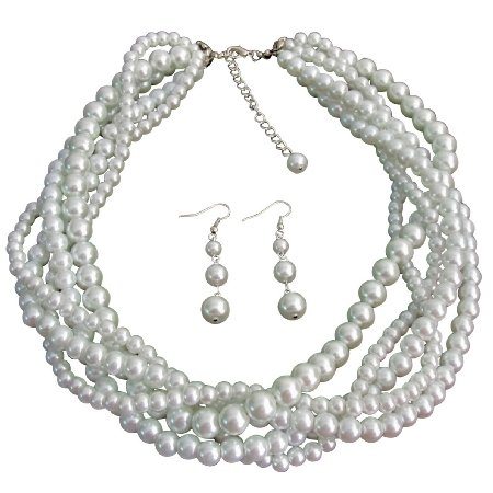 NS1334  White Five Strand Braided Twisted Necklace With Dangling Earrings Bridal Jewelry Set