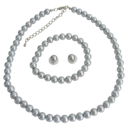 NS1371 Gray Pearls Wedding Statement Necklace Bridal Jewelry Bridesmaid Necklace Earrings Bracelet