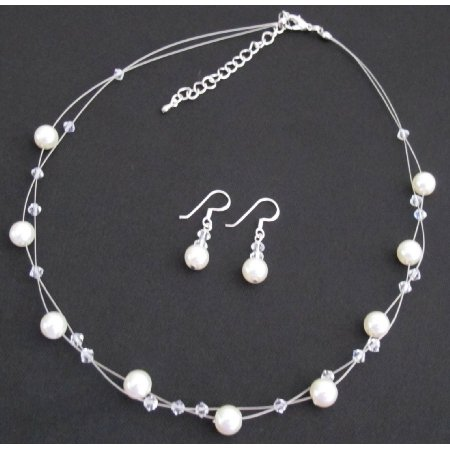 NS1437 Ivory Pearl Clear Crystals Floating Necklace Set
