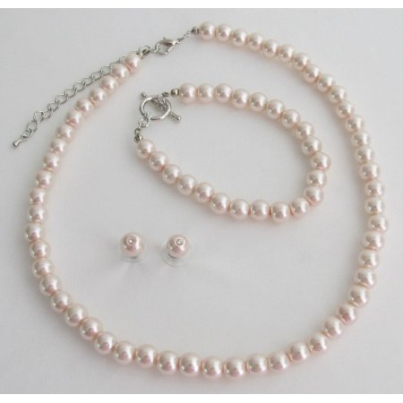 NS1428 Blush Pink Pearl Necklace Earrings Braceket Wedding Bridesmaid Jewelry