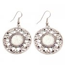 UER462 Silver Metal Round Earrings Dangle Ethnic Design Shimmered Acrylic