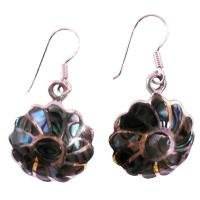 SER084 Rainbow Abalone Flower Earrings w/ Abalone shell Inlay Silver Stripe