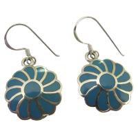 SER007  Turquoise Flower Earrings 925 Silver Flower Turquoise Inlay Earringsf