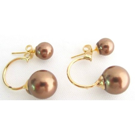 UER798 Double Pearl Ear Jacket Earring Beautiful Brown Color