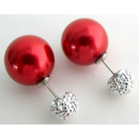 UER736 Front And Back Double Pearl Post Stud Earrings Red Pearl Pave Ball
